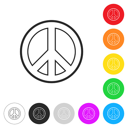 Peace. Flat icons on buttons in different colors