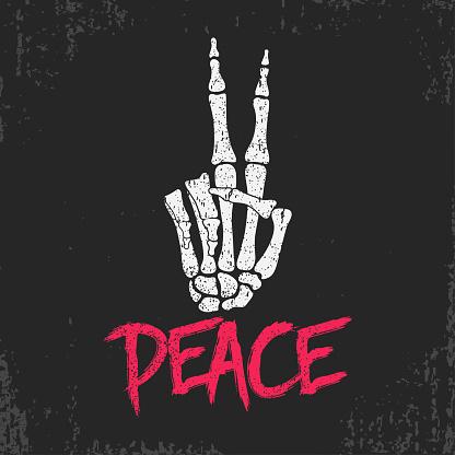 Peace gesture sign print with skeleton bones hand. Vintage design for t-shirt, clothes, grunge original apparel. Vector illustration.