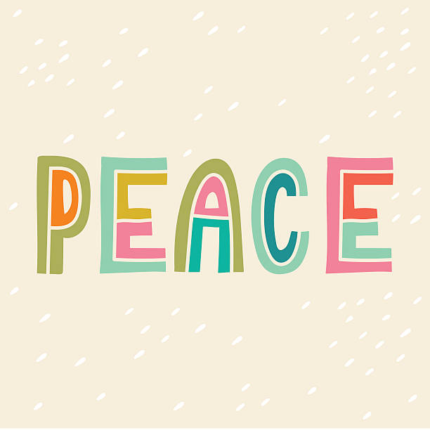 Peace. Hand drawn vintage print with hand lettering. vector art illustration