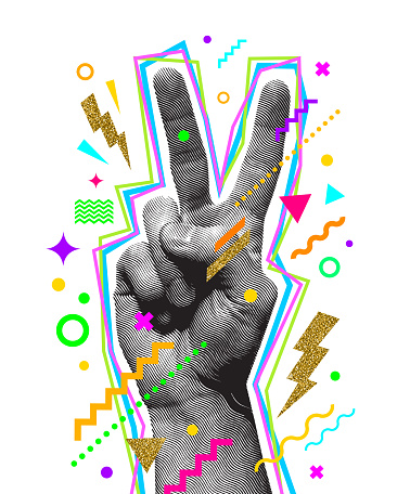 Peace hand sign. Engraved style hand and multicolored abstract elements. Vector illustration.