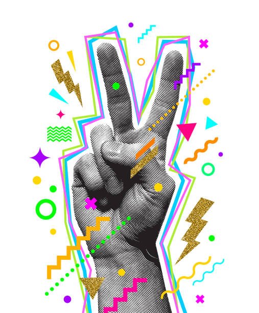 ilustrações de stock, clip art, desenhos animados e ícones de peace hand sign. engraved style hand and multicolored abstract elements. vector illustration. - dedo humano