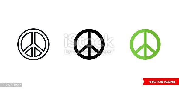 Peace icon of 3 types color, black and white, outline. Isolated vector sign symbol.