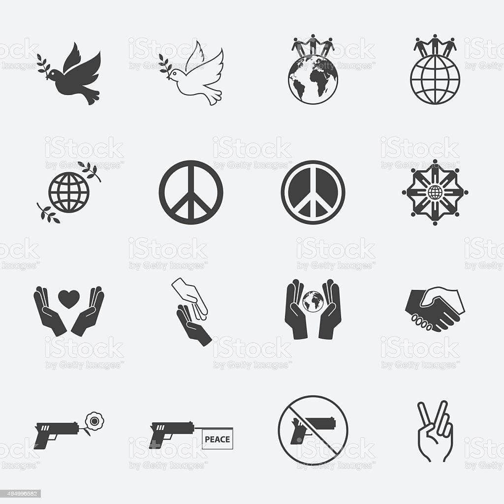 Peace Icons set. vector art illustration