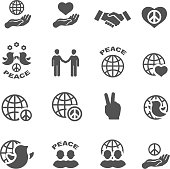 Peace icons set black vector symbols