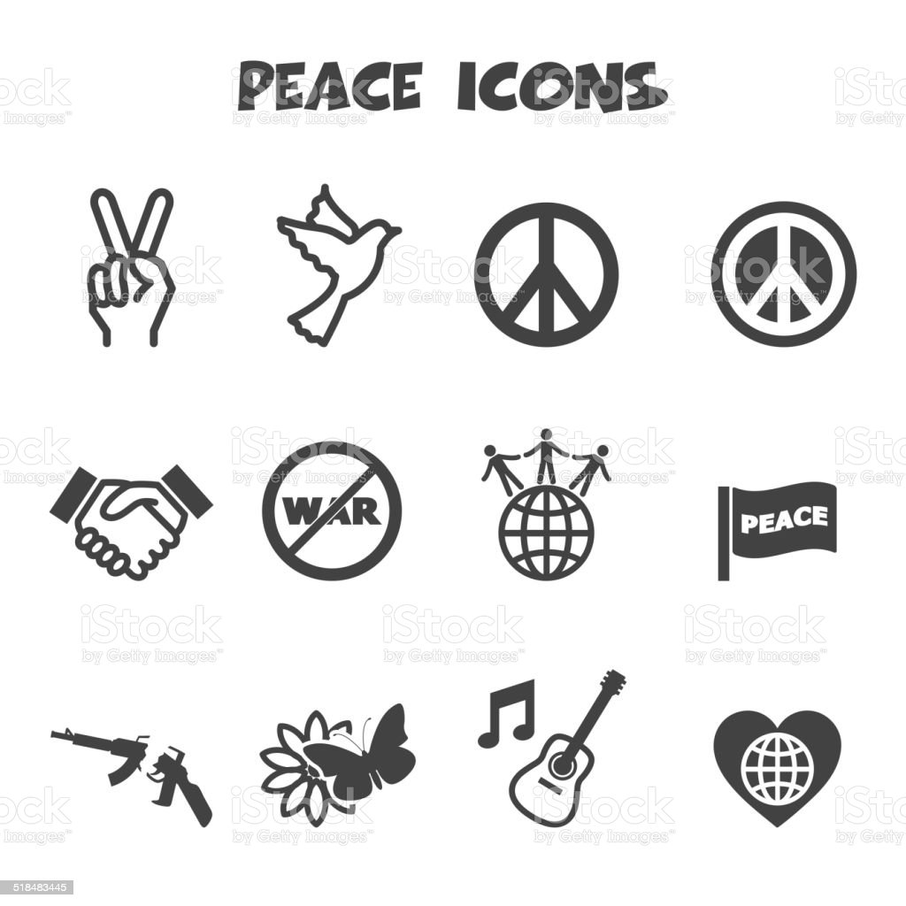 peace icons vector art illustration