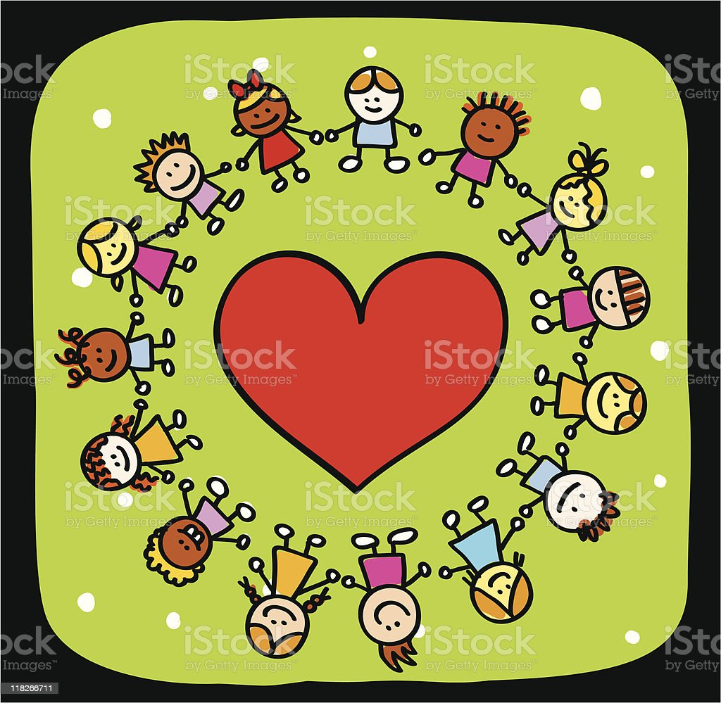 Peace love and happy kids cartoon stock vector art more images of african ethnicity istock - Dessin peace and love ...