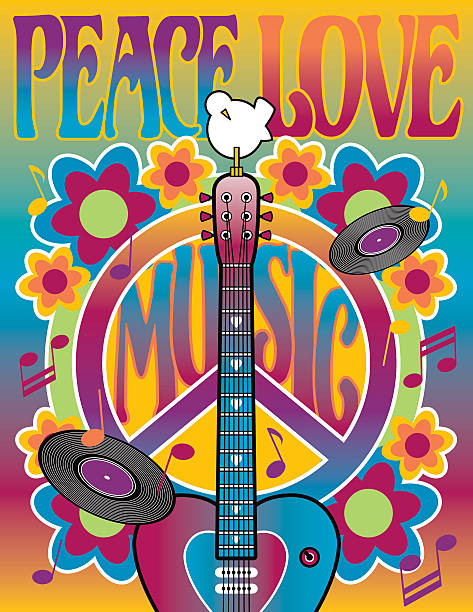 peace love and music - 1960s style stock illustrations, clip art, cartoons, & icons