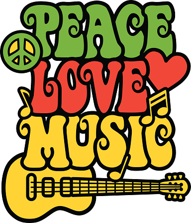 Peace, love and music written in 60's style font with guitar
