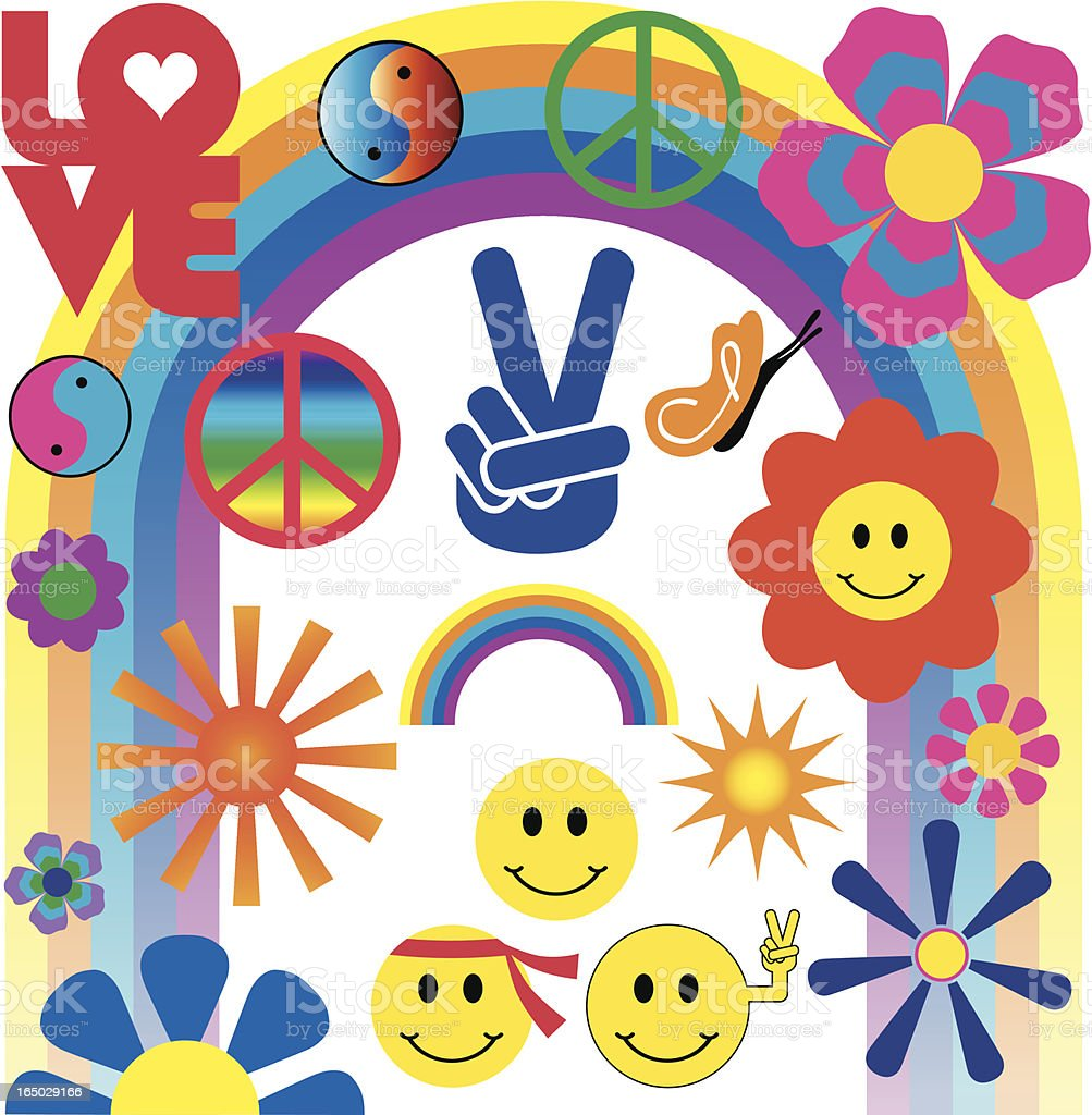 Peace, Love, Groovy - Hippie Flower Power vector art illustration