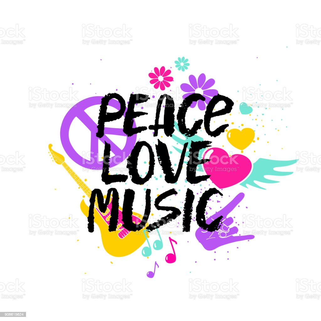 Peace Love Music Lettering With Symbols