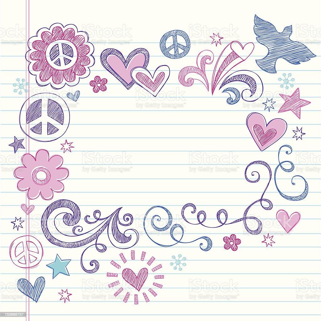 Peace & Love Sketchy Doodles Vector Page Border vector art illustration