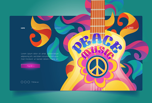 Peace music banner with hippie sign and guitar