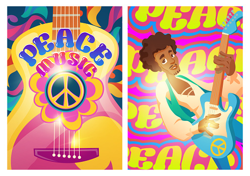 Peace music posters with hippie sign and guitar