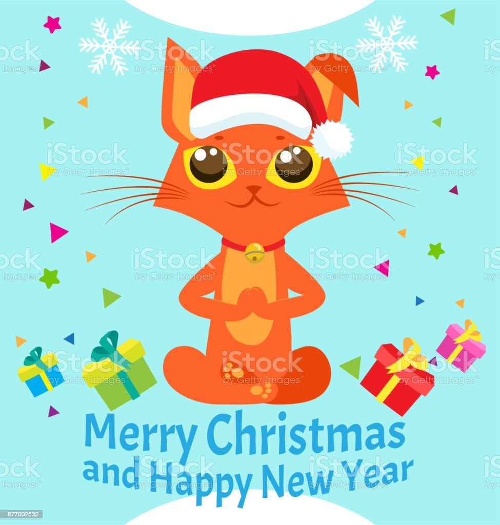 peace of mind happy new year card with meditating cat vector christmas yoga cat