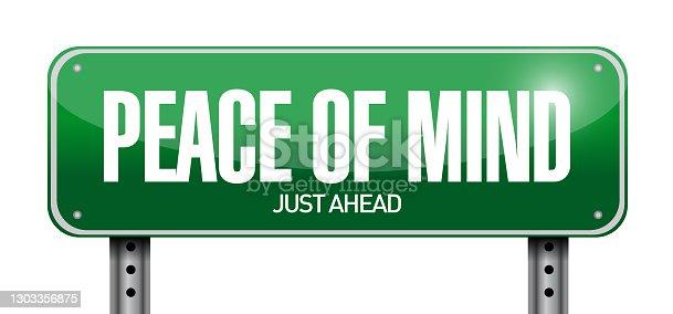 Peace of mind road sign illustration design over a white background