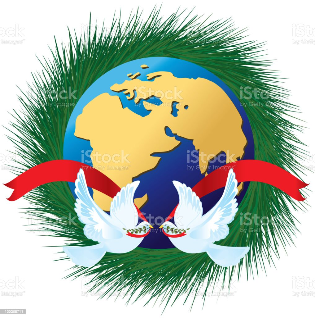 Peace On Earth - Double Doves royalty-free peace on earth double doves stock vector art & more images of bird