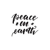 Peace on earth - freehand ink hand drawn calligraphic design