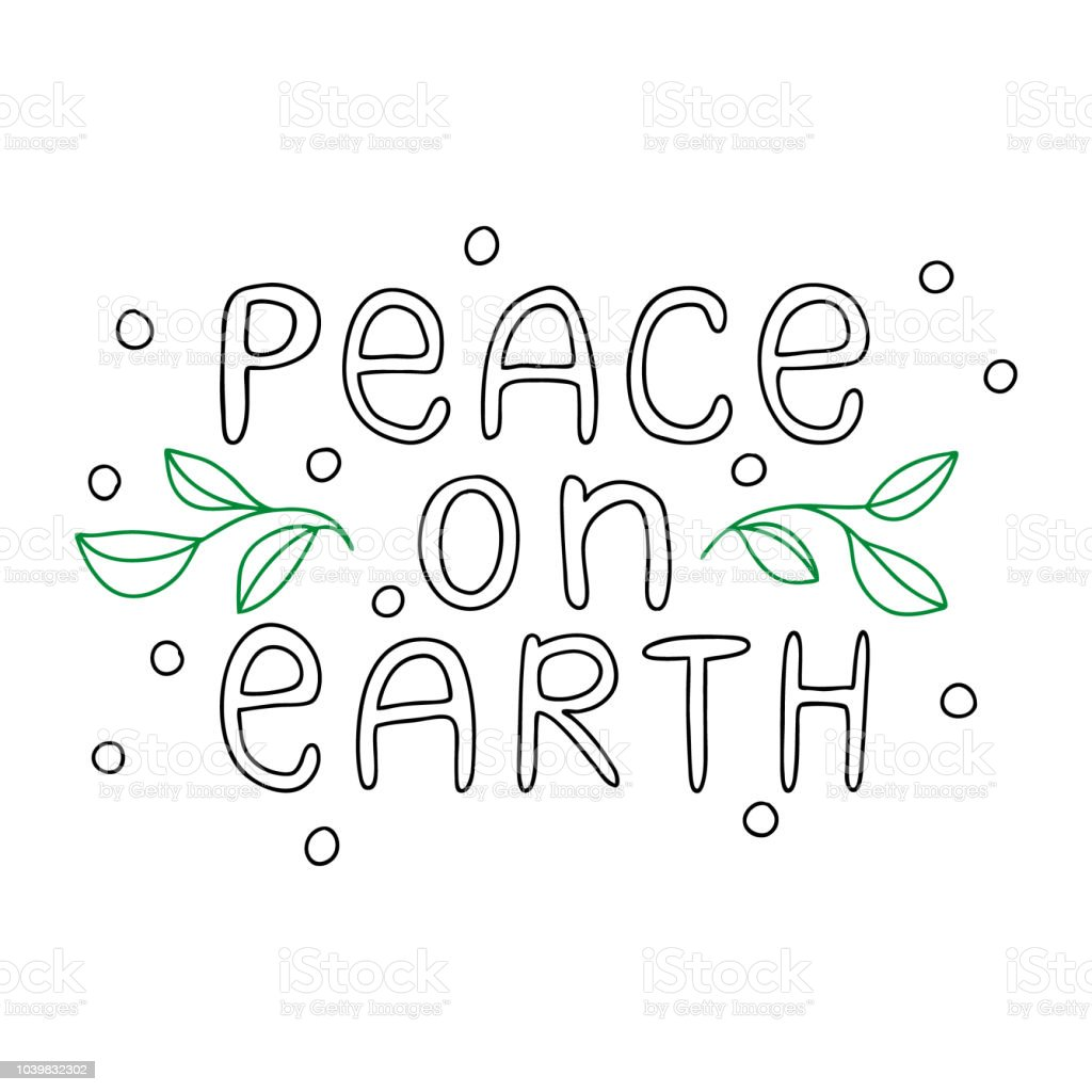 Peace On Earth Hand Lettering Inscription Winter Quote For ...