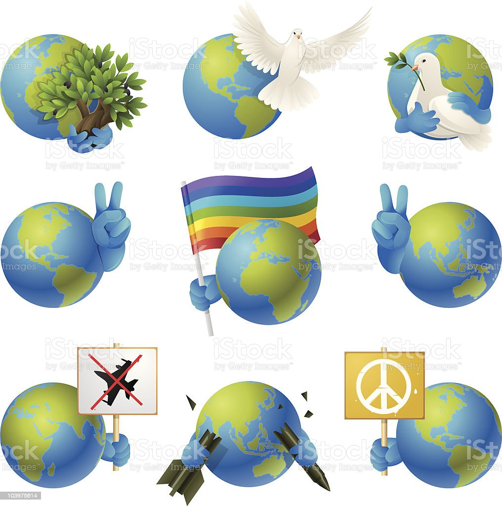 Peace on Earth Icon Set royalty-free stock vector art