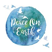 An original artwork vector illustration of a watercolor paint circle with inspirational quote and flock of doves. Isolated on white background. This Square composition can be a postcard, invitation or flyer.