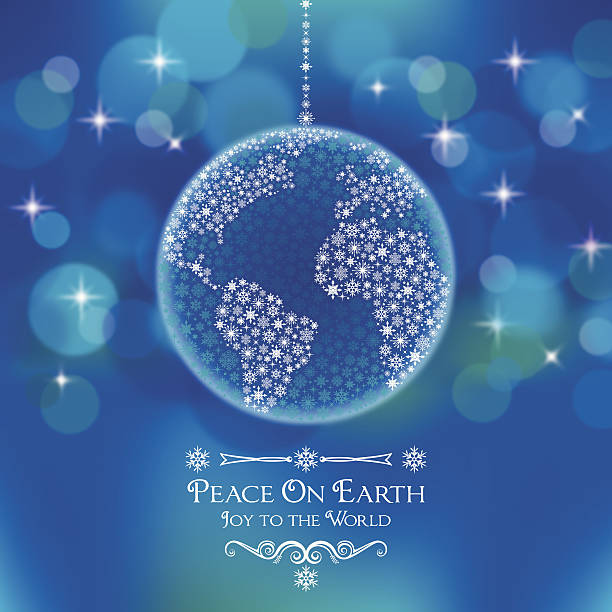 Peace On Earth World Ornament A Snow Covered Earth Christmas Ornament on an Abstract Background. Peace On Earth. Joy to the World. symbols of peace stock illustrations