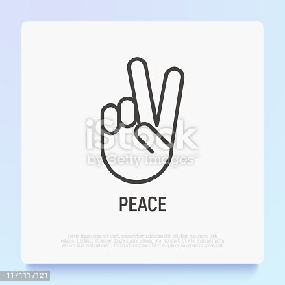 Peace or victory thin line icon. Modern vector illustration of hand gesture.