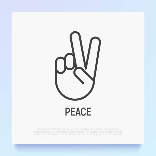 Peace or victory thin line icon. Modern vector illustration of hand gesture. Peace or victory thin line icon. Modern vector illustration of hand gesture. peace symbol stock illustrations
