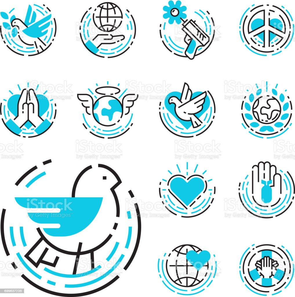 Peace outline blue icons love world freedom international free care hope symbols vector illustration vector art illustration