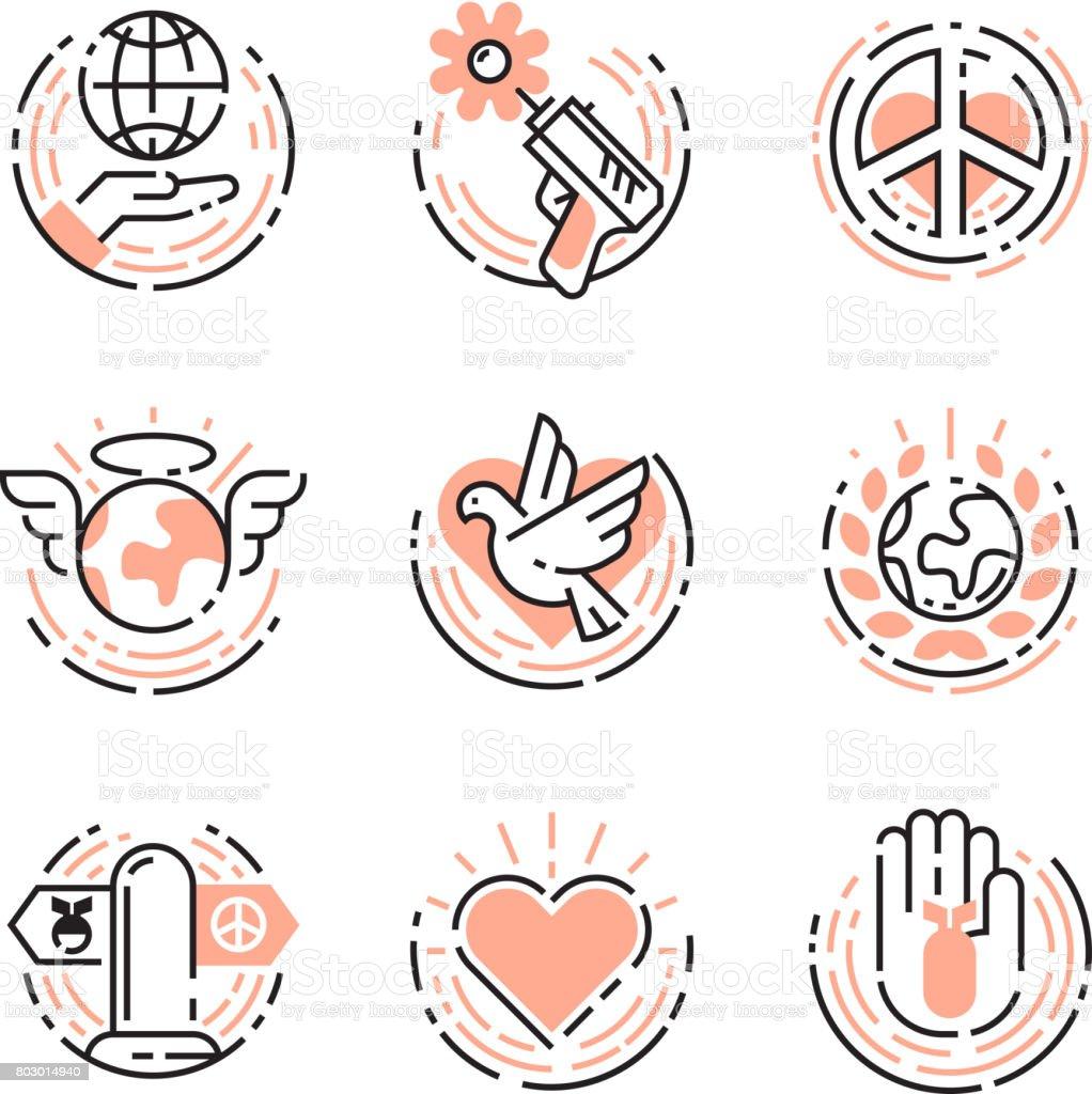 平和概要細い線アイコン シンボル ベクトル イラスト世界自由国際無料