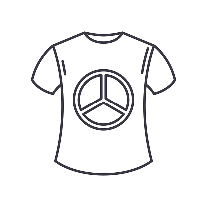 Peace shirt icon, linear isolated illustration, thin line vector, web design sign, outline concept symbol with editable stroke on white background.