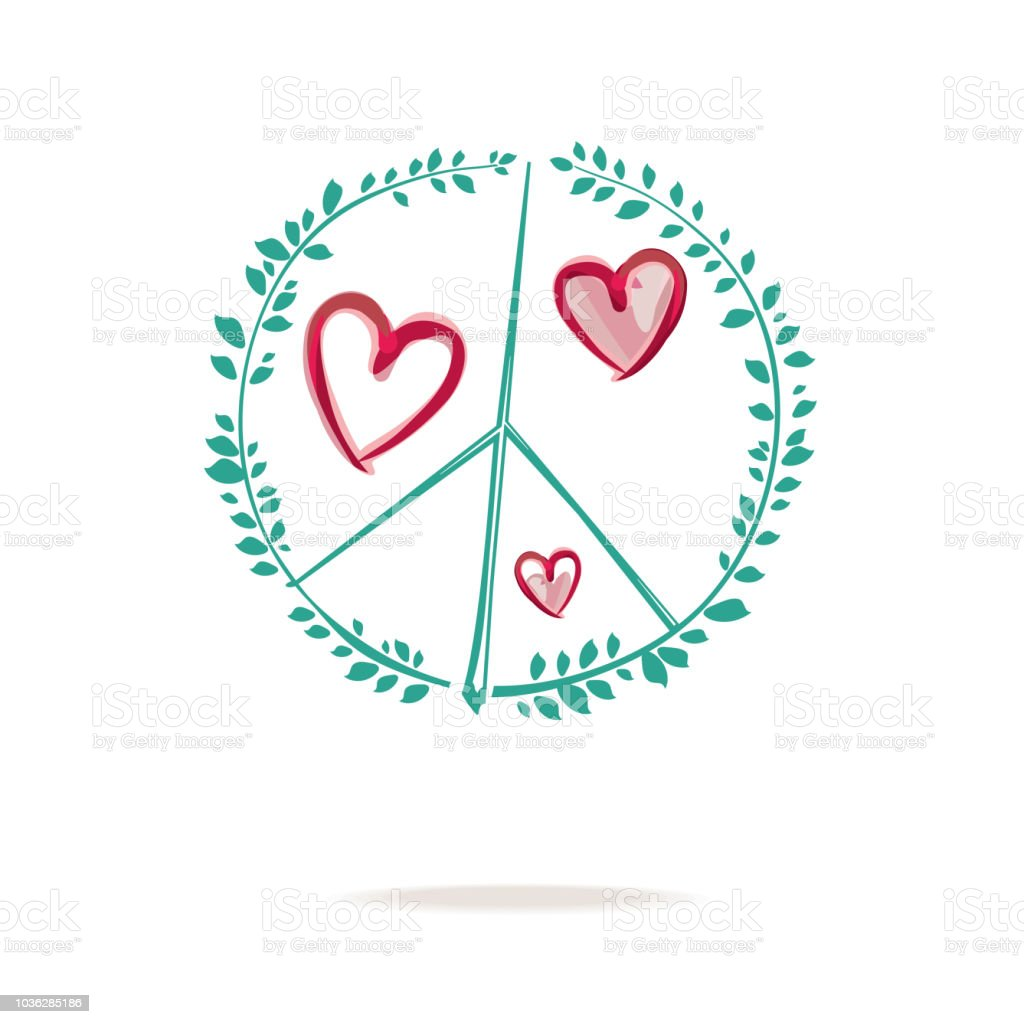 Peace Sign Drawing Consists Of Sprigs With Green Foliage And Hearts