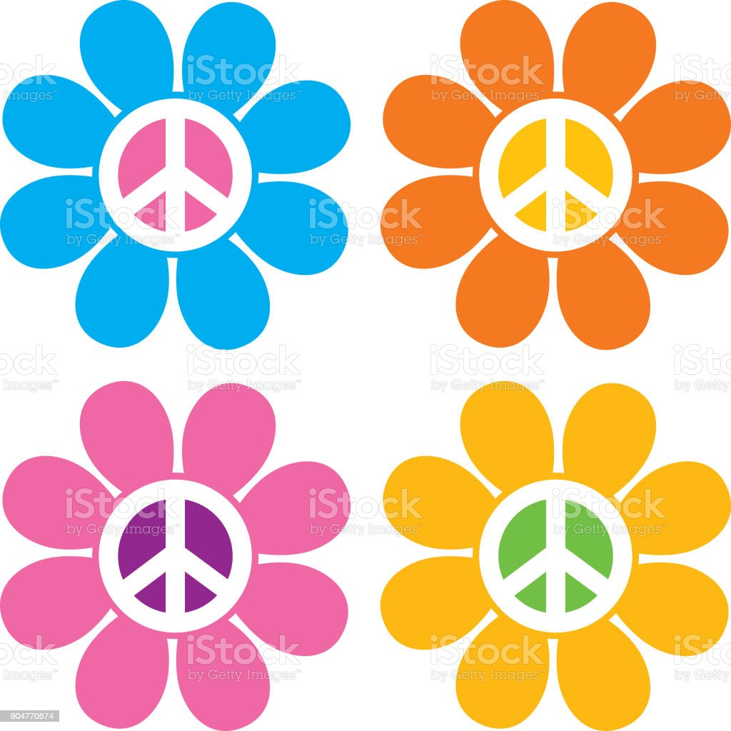 Vredesteken bloem pictogrammen - Royalty-free 1960-1969 vectorkunst