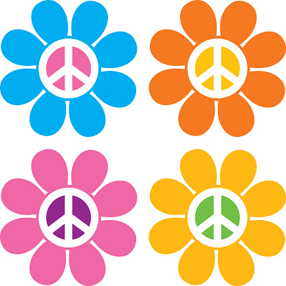 Vector illustration of four colorful hippie flowers.