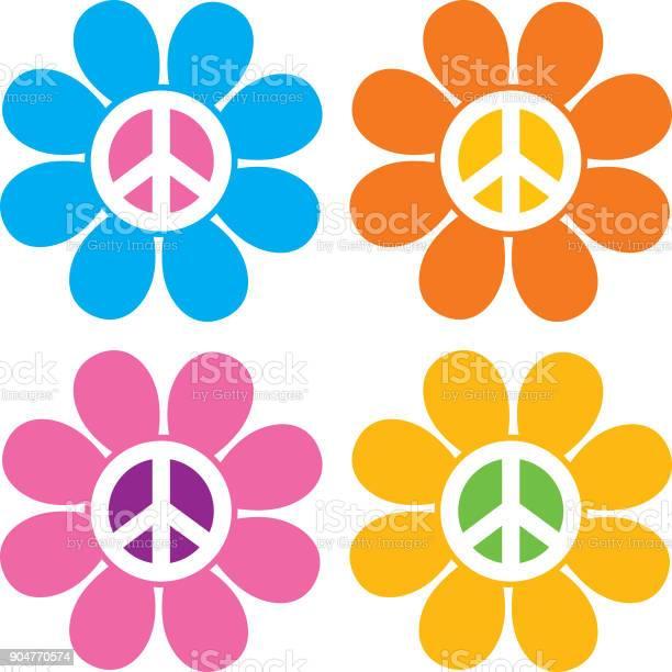 Vredesteken Bloem Pictogrammen Stockvectorkunst en meer beelden van 1960-1969