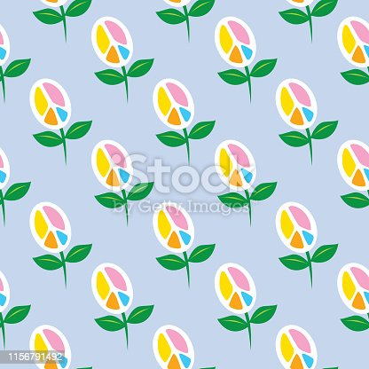 Vector illustration of cute flower peace signs on a light blue background.