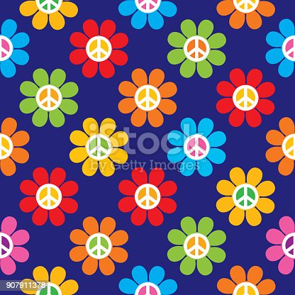 Vector seamless pattern of retro peace sign flowers.