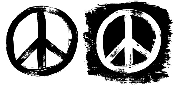 Peace sign grunge black white tee graffiti doodlie sketch dirty style symbol, brush stroke ink watercolor monochrome for t shirt design print posters