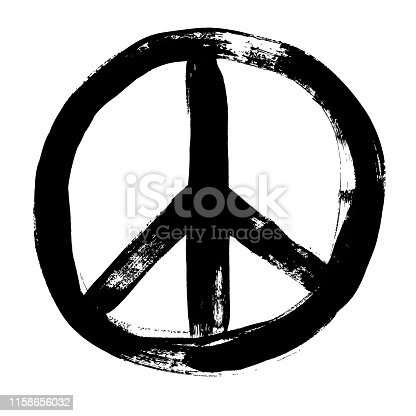 istock Peace sign grunge doodlie sketch dirty style symbol, brush stroke ink watercolor monochrome for t shirt design print posters 1158656032