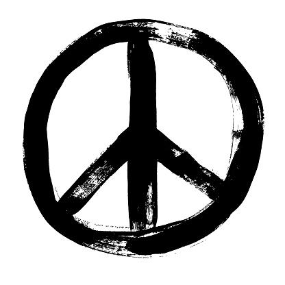 Peace sign grunge doodlie sketch dirty style symbol, brush stroke ink watercolor monochrome for t shirt design print posters Hand drawn vector illustration.