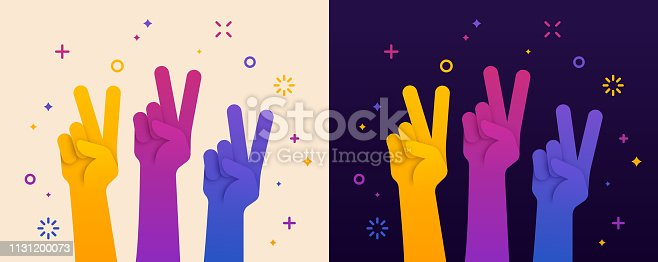 Raised peace sign hand gesture illustration concept.