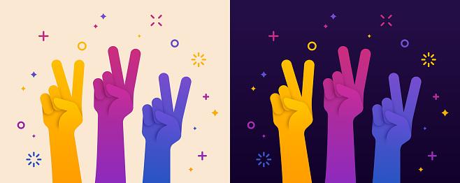 Peace Sign Hand Raised