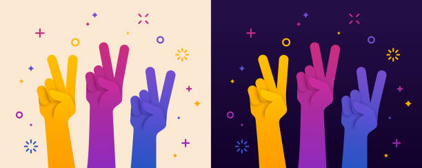 Peace Sign Hand Raised Raised peace sign hand gesture illustration concept. symbols of peace stock illustrations