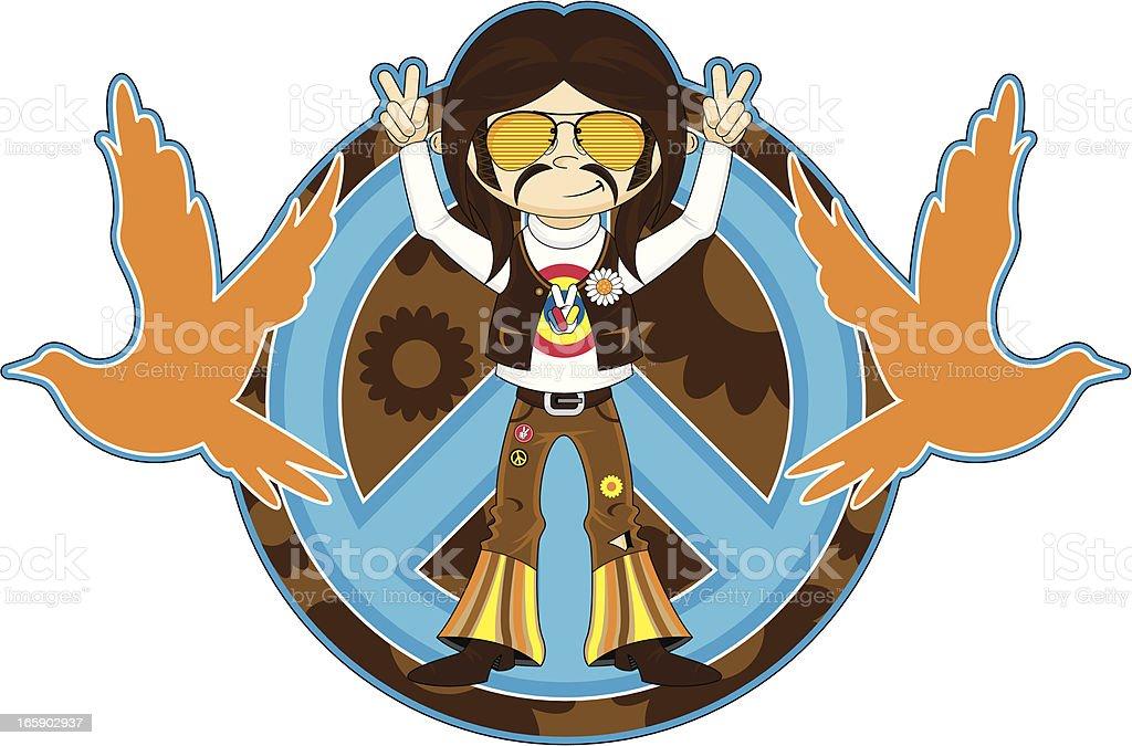 Peace Sign Hippie Boy in Shades vector art illustration