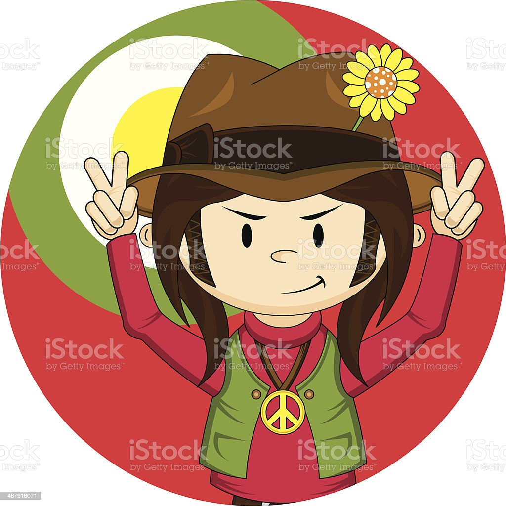 Peace Sign Hippie Boy royalty-free stock vector art