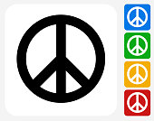 Peace Sign Icon Flat Graphic Design
