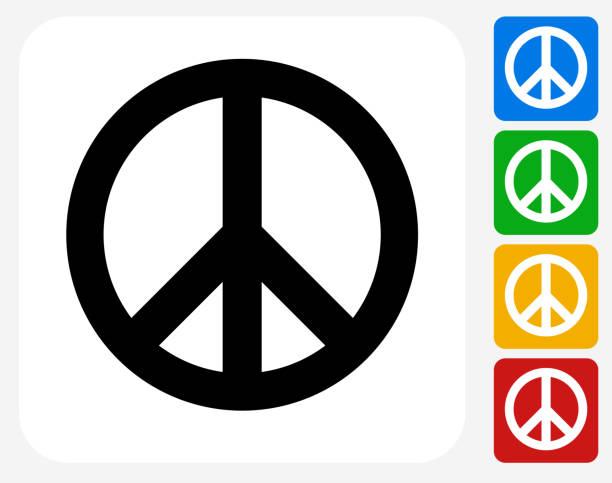 Peace Sign Icon Flat Graphic Design Peace Sign Icon. This 100% royalty free vector illustration features the main icon pictured in black inside a white square. The alternative color options in blue, green, yellow and red are on the right of the icon and are arranged in a vertical column. symbols of peace stock illustrations