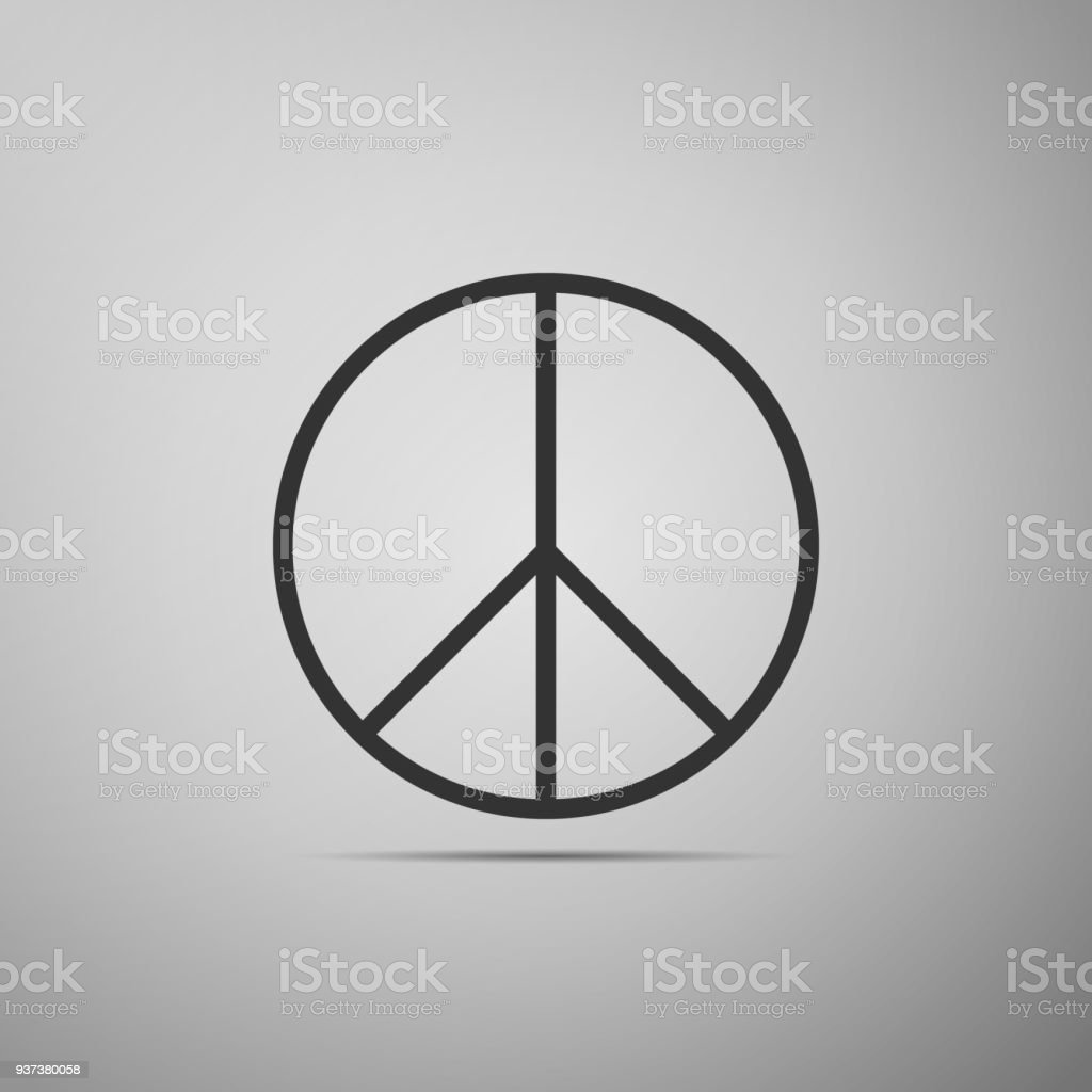 Peace Sign Icon Isolated On Grey Background Hippie Symbol Of Peace