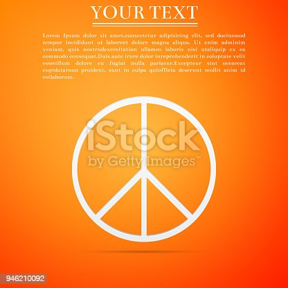 Peace Sign Icon Isolated On Orange Background Hippie Symbol Of Peace