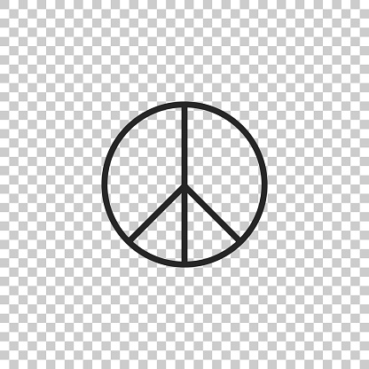 Peace sign icon isolated on transparent background. Hippie symbol of peace. Flat design. Vector Illustration
