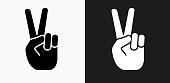 Peace Sign Icon on Black and White Vector Backgrounds